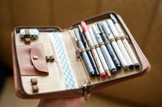 Reuse old dayplanner covers - one for sketching/watercolours, one for on-the-go- office supplies, a sewing kit . .