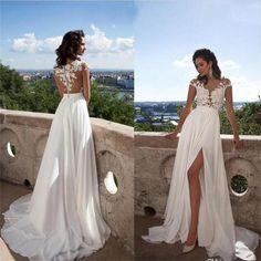 Long Top lace Appliques Side Slit Chiffon Cheap Party Evening Prom Dresses,PD0046