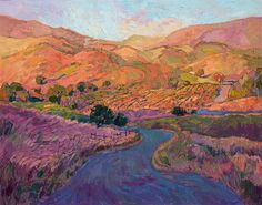 California rolling hills in impressionist colors and brushstrokes, by Erin Hanson