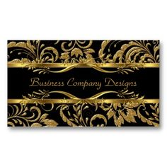 Elegant Classy Gold Black Damask Embossed Look Double-Sided Standard Business Cards (Pack Of