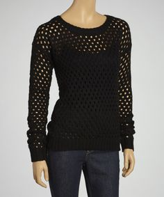 Take a look at this Yoki Black Loose-Knit Sweater on zulily today!