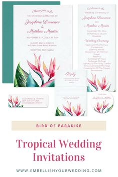 Tropical wedding invitations feature a bird of paradise floral design. Visit our website to see the full range of matching wedding stationery. #wedding #weddings #weddinginvitations #weddinginvites #weddingstationery #weddinginvitationsuite #tropicalwedding #tropicalweddinginvitations #tropicalweddinginvites #birdofparadise #birdparadise