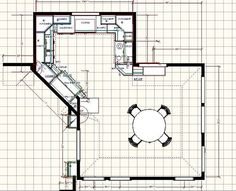 Kitchen floor plan with dining area.  I think the diagonal wall in this is very nice.