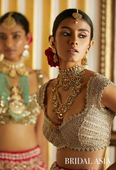 Beige And Siver Bridal Wear With Jewellery You can find different rumors about the annals of the wedding dress; Indian Wedding Jewelry, Indian Bridal, Bridal Jewelry, Bridal Lehenga, Lehenga Choli, Lehenga Blouse, Sabyasachi, Anarkali, Bridal Looks