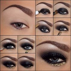 Black Smokey Eye Tutorial with a Pop of Gold Glitter