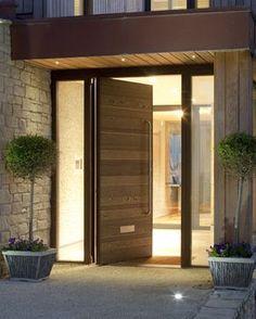 ideas for modern front door entrance wood porches Front Door Porch, Front Door Entrance, House Front Door, House Doors, House Entrance, Front Porches, Apartment Entrance, Front Entrances, Front Entry