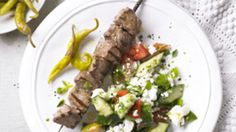 Lamb shish and shepherds salad
