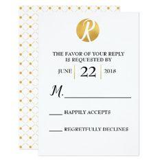 Elegant Modern Faux-Gold Wedding RSVP Cards - invitations custom unique diy personalize occasions