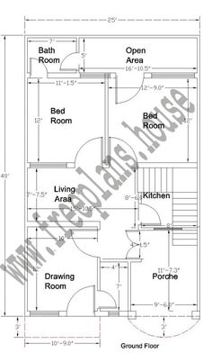 25x40 feet ground floor plan plans pinterest Simple square house plans