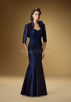 Gorgeous Blue Taffeta Beaded Bodice Mermaid Mother Of The Bride Dress