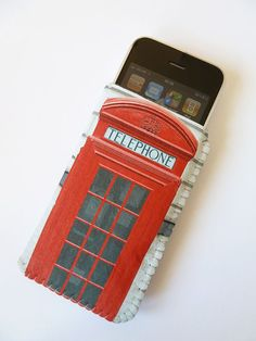 iPhone 4 Case British Red Phone Box- Fits iPod Touch HTC, Samsung Smartphones and more