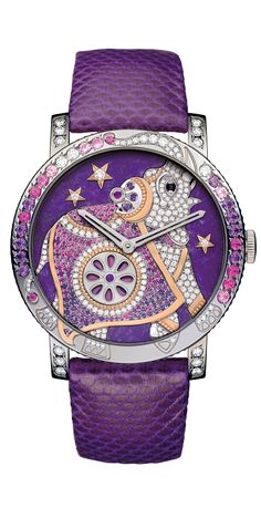 §Boucheron Crazy Jungle Hathi Watch    Watch in white gold set with diamonds, amethysts, pink saphhires and onyx.