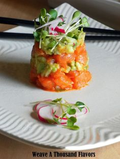 Sriracha Salmon Ceviche Towers with Garden Guacamole & Radish Sprouts #recipe