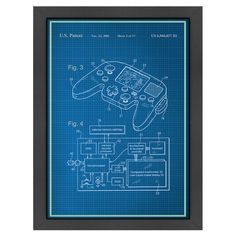 Add an industrial-chic touch to your game room or home bar with this eye-catching framed print, showcasing a schematic drawing of a video game controller.
