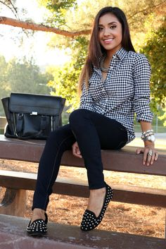 J.Crew gingham blouse Charlotte Russe jeans Michael Kors watch Just Fab bracelets Zigi Soho flats via DSW 3.1 Phillip Lim satchel H necklace Forever 21 ring