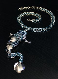 Blue Dragon Necklace - ZombieHun by SerenFey on DeviantArt - Chainmaille Dragon