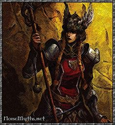 Grid, mistress of Odin and mother of Vidar. She leant Thor her magic belt, gloves and staff for his fight with Geirrod.