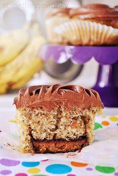 Reese's Peanut Butter Cup Banana Cupcakes at www.somethingswanky.com