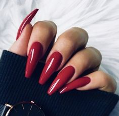 """If you're unfamiliar with nail trends and you hear the words """"coffin nails,"""" what comes to mind? It's not nails with coffins drawn on them. Although, that would be a cute look for Halloween. It's long nails with a square tip, and the look has. Red Acrylic Nails, Acrylic Nail Designs, Red Stiletto Nails, Red Nail Designs, Gorgeous Nails, Pretty Nails, Perfect Nails, Red Manicure, Diy Red Nails"""
