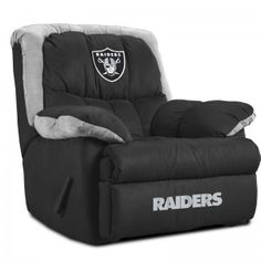 Oakland Raiders Home Recliner. This would be perfect in my mother's living room, she's a Broncos fan!