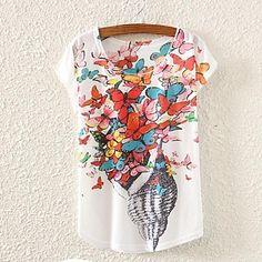 De las mujeres Estampado Camiseta-Escote Redondo-Mezclas de Algodón-Manga Corta 2712688 2016 – $5.99