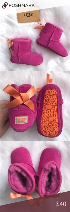 Bailey Bow infant UGG's BNIB size 2/3 pink and orange bailey bow UGG's. Comes with everything pictured! UGG Shoes Boots