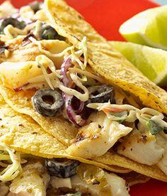 , Easy Fish Tacos fold grilled halibut, coleslaw mix, tomatillo salsa ...