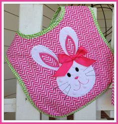 Easter Bunny Bib only  in Chevron and Minky Fabric  Girls on Etsy, $18.00