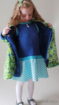 Kicky little blue dress beneath a blue-lined coat -- love it! | Penny Vintage Coat Set sewn by The Inspired Wren