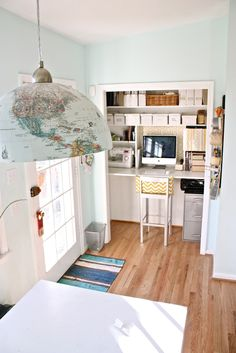 map-wrapped pendant + closet desk space