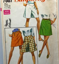 Vintage 1960s Sewing Pattern Simplicity 7687 Skirt or