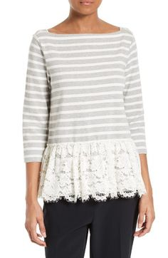 Free shipping and returns on kate spade new york stripe & lace flounce top at Nordstrom.com. A flirty twist on the classic nautical top, sporty stripes (here, over soft cotton knit) are underscored with a ruffled peplum of scalloped eyelash lace.