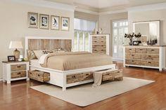 Western King Bed with Storage at Gardner-White