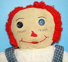 C1940 Hand Made Raggedy Ann Doll in Blue by AmericanBeautyDolls