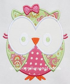 Applique Cafe - Girly Owl Applique  I'm going to have to try this one out :)