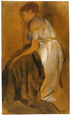 Edgar Degas (1834–1917)  Study of a Seated Woman, 1868–69  Oil paint thinned with turpentine, over graphite, on tan paper
