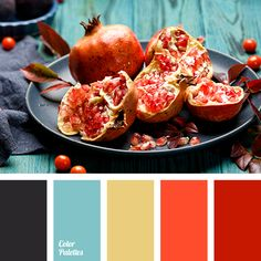 Blue Color Palettes, bright orange, color combination, color of graphite, color of pomegranate, color of sicilian orange, color palette, graphite, graphite black, muted yellow, Red Color Palettes, scarlet, selection of colors, Yellow Color Palettes.