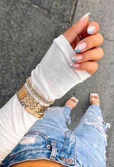 10 French Tip Nails Inspired - The Best Acrylic Nails, Ombre Nails, Nail Art Des. - 10 French Tip Nails Inspired – The Best Acrylic Nails, Ombre Nails, Nail Art Designs La meilleure - French Tip Acrylic Nails, Square Acrylic Nails, Almond Acrylic Nails, Summer Acrylic Nails, Acrylic Nail Designs, Acrylic Art, Ombre French Nails, Almond Nail Art, French Nail Art