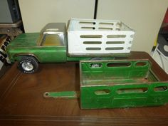 Vintage Toy Truck and Trailer - Nylint Farms Pickup & Wheelless Nylint Horse RanchTrailer - Green and White by FriendsRetro on Etsy