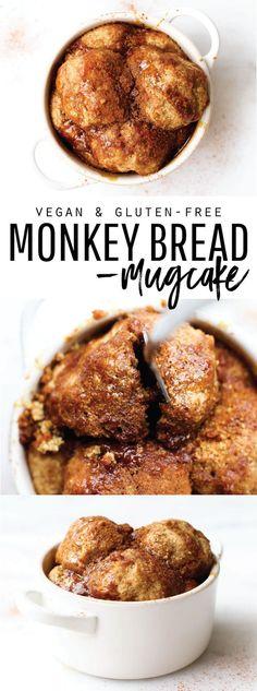 Vegan Monkey Bread Mug Cake Vegan Monkey Bread Mug Cake {gluten-free & oil-free} - Delicious Vegan Recipes Dessert Sans Gluten, Vegan Dessert Recipes, Vegan Sweets, Brunch Recipes, Breakfast Recipes, Free Breakfast, Paleo Breakfast, Brunch Ideas, Breakfast Time
