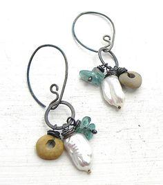 Throwing+Stones+Earring+Sterling+Beach+Stones+Handmade+by+joykruse,+$74.00