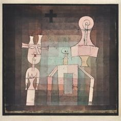 Paul Klee 'Stilleben mit Plastiken' )Still Life with Sculpture [my own translation g.s.]) 1923 Oil transfer and watercolor on paper mounted on cardboard  32 x 33 cm