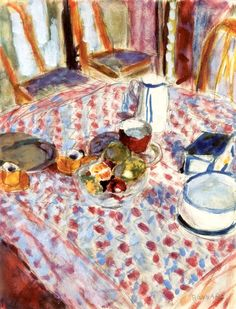 Still LIfe on a Red Checkered Tablecloth / Pierre Bonnard - 1930-1935