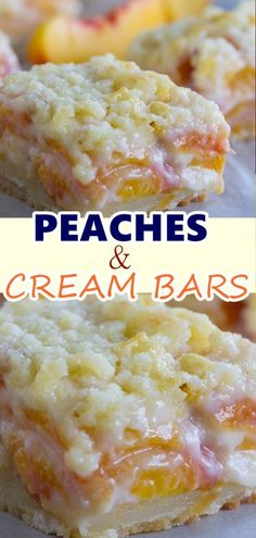 Peaches and cream bars - a perfect summer dessert! Just Desserts, Delicious Desserts, Dessert Recipes, Yummy Food, Fruit Deserts Recipes, Light Desserts, Bar Recipes, Homemade Desserts, Dessert Bars