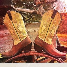 """HPAriat Boots Adorable Ariat cowboy boots... Pre loved.. Some signs of wear and on the heel(shown in pics) runs smaller..more like a 6.5 or a smaller size 7B..not recommended for one with a higher instep..heel height:2 1/4""""....                 boot height:12.5"""".. Shaft opening:6.5""""across.. No trades no pay pal! Ariat Shoes Combat & Moto Boots"""