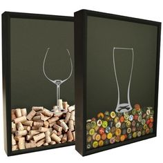 This set features beer and wine glass silhouette graphics on 16 by 20 inch shadow box frames customized to hold beer bottle caps or wine corks.