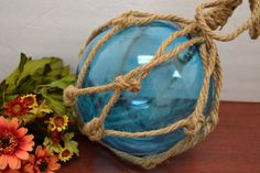 "SKY BLUE REPRODUCTION BLOWN GLASS FLOAT FISHING NET BUOY BALL DECOR 8"" SF-613"
