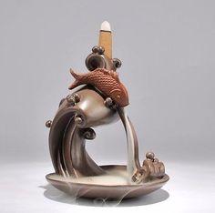 Handmade-ceramic-incense-burner-fish-big-splash-backflow-Creative-incense-censer