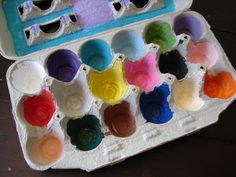 Color scavenger hunt. Fun camping game! Paint colors in the bottom of an egg carton and the kids find things in the woods that are that color! Simple and fun!
