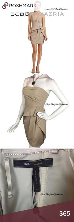 🆕NWOT BCBG strapless mini dress Pretty little BCBG strapless mini dress has flattering pleated bodice with a peplum like look. Has rubber grip band to secure top and inside loops to add straps (not included) if preferred. Soft tan color. Never worn, excellent condition. Still has string from handtag attached.❗Please read my recently updated 'about me and my closet' listing for pricing/policies. BCBGMaxAzria Dresses Mini
